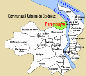 Carte du Bordelais, situation parempuyre