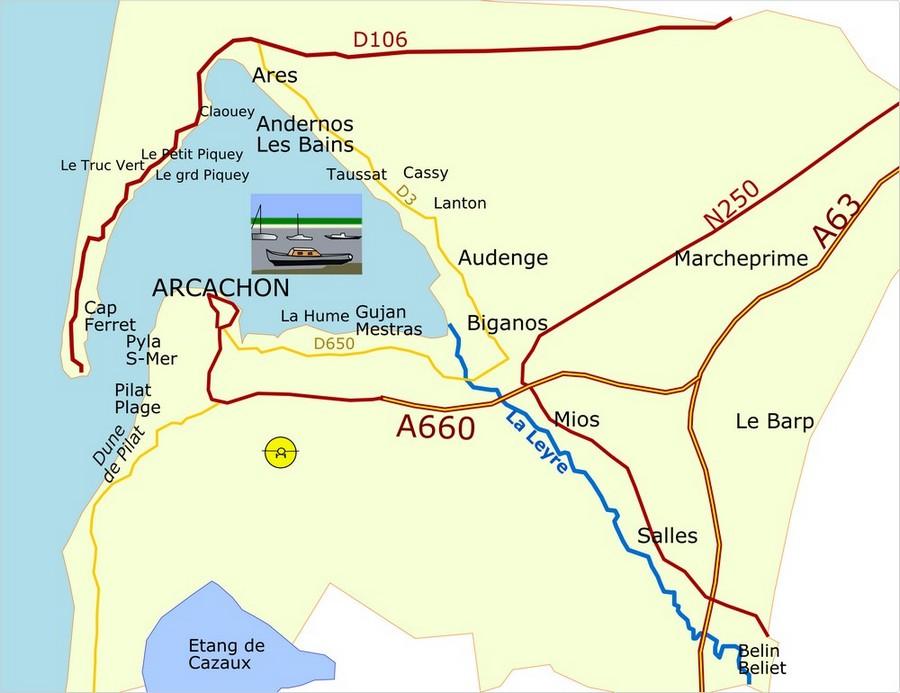 Caruso33 carte du bassin d 39 arcachon d partement de la - Office de tourisme bassin d arcachon ...