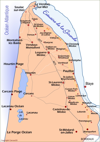 Caruso33 : Situation de Lesparre   Médoc (département de la Gironde)