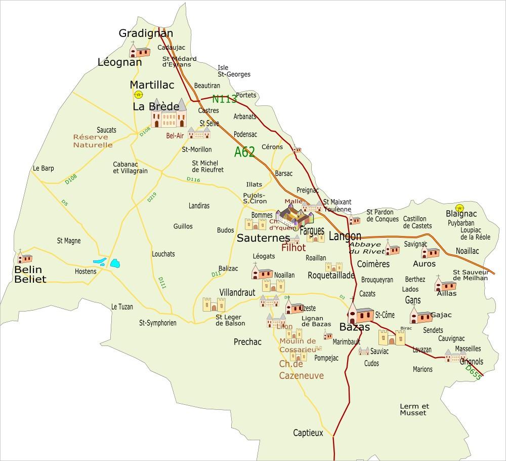 CARUSO33: Carte du Sud Gironde (département de la Gironde)