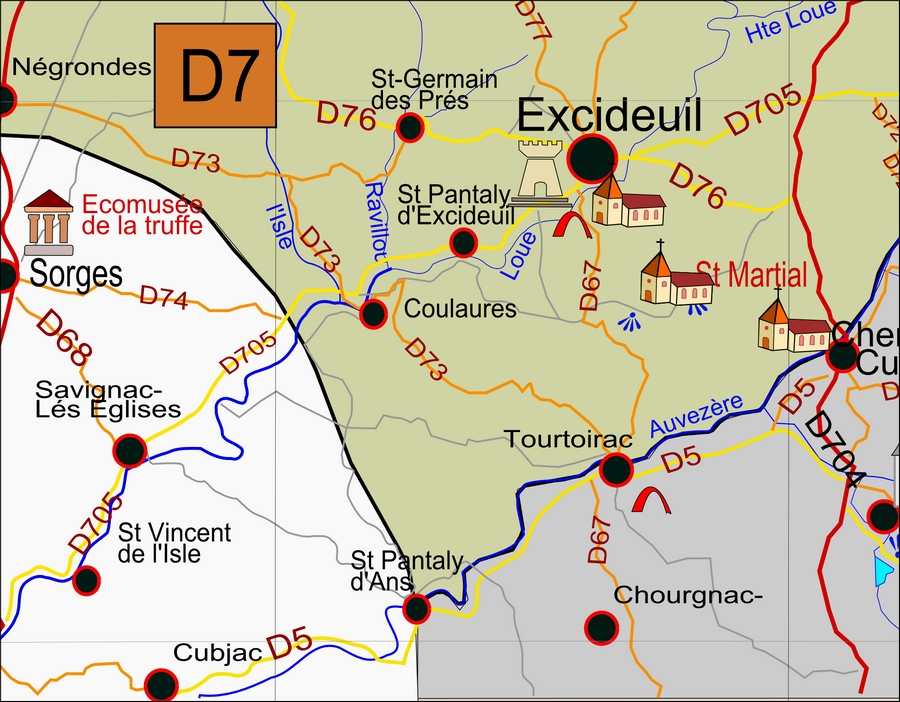 carte D7 Excideuil