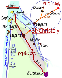 Carte de situation de St-Christoly-Médoc