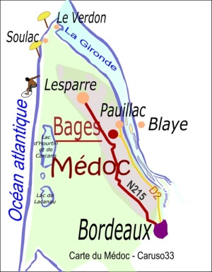 carte medoc situation du village de Bages